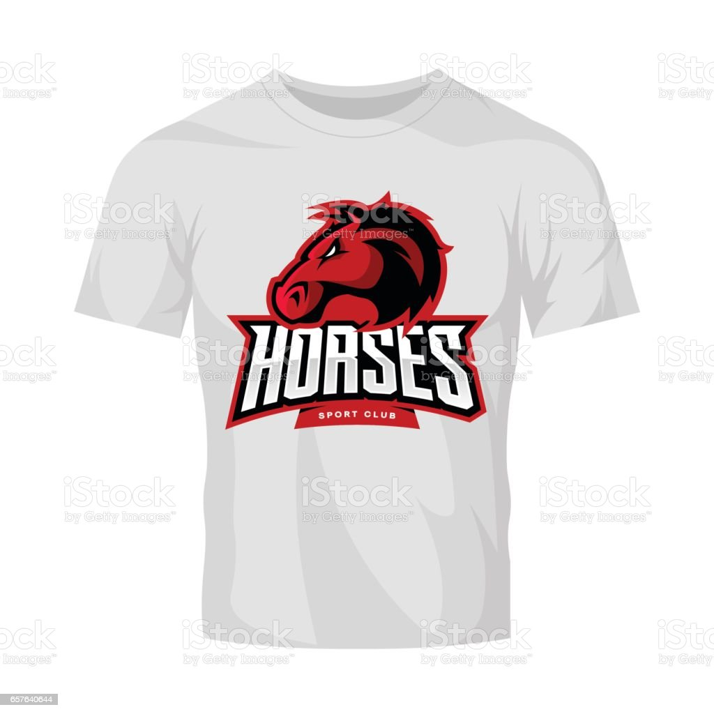 Scalable t shirt mockups more info - Furious Horse Sport Club Vector Logo Concept Isolated On White T Shirt Mockup Royalty