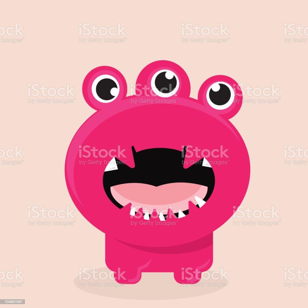 Furious Pink Monster vector art illustration