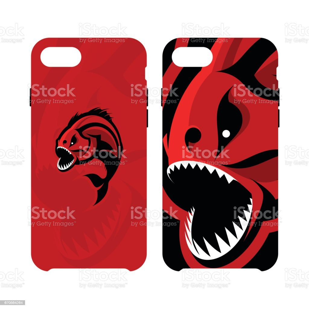 Furious piranha sport vector icon concept smart phone case isolated on white background vector art illustration
