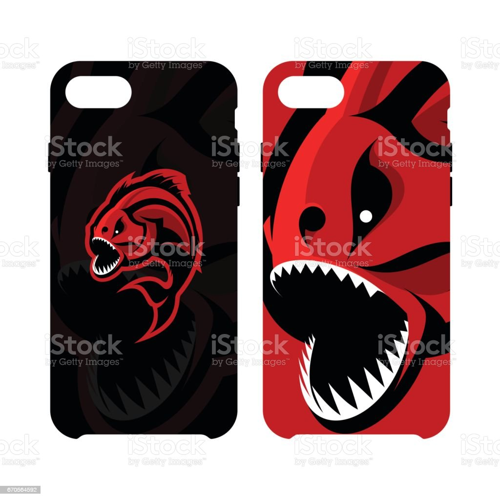 Furious piranha sport vector icon concept smart phone case isolated on white background. vector art illustration