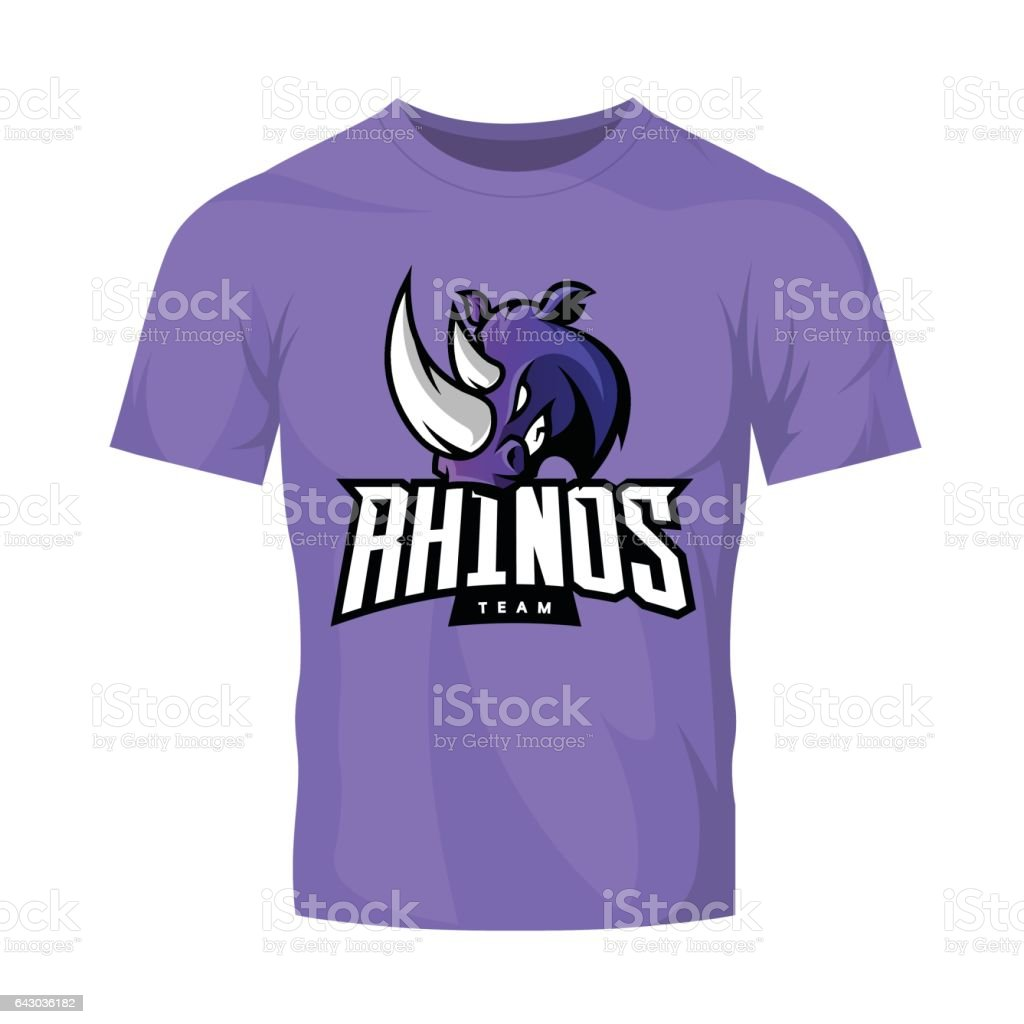 Scalable t shirt mockups more info - Furious Rhino Sport Vector Logo Concept Isolated On Purple T Shirt Mockup