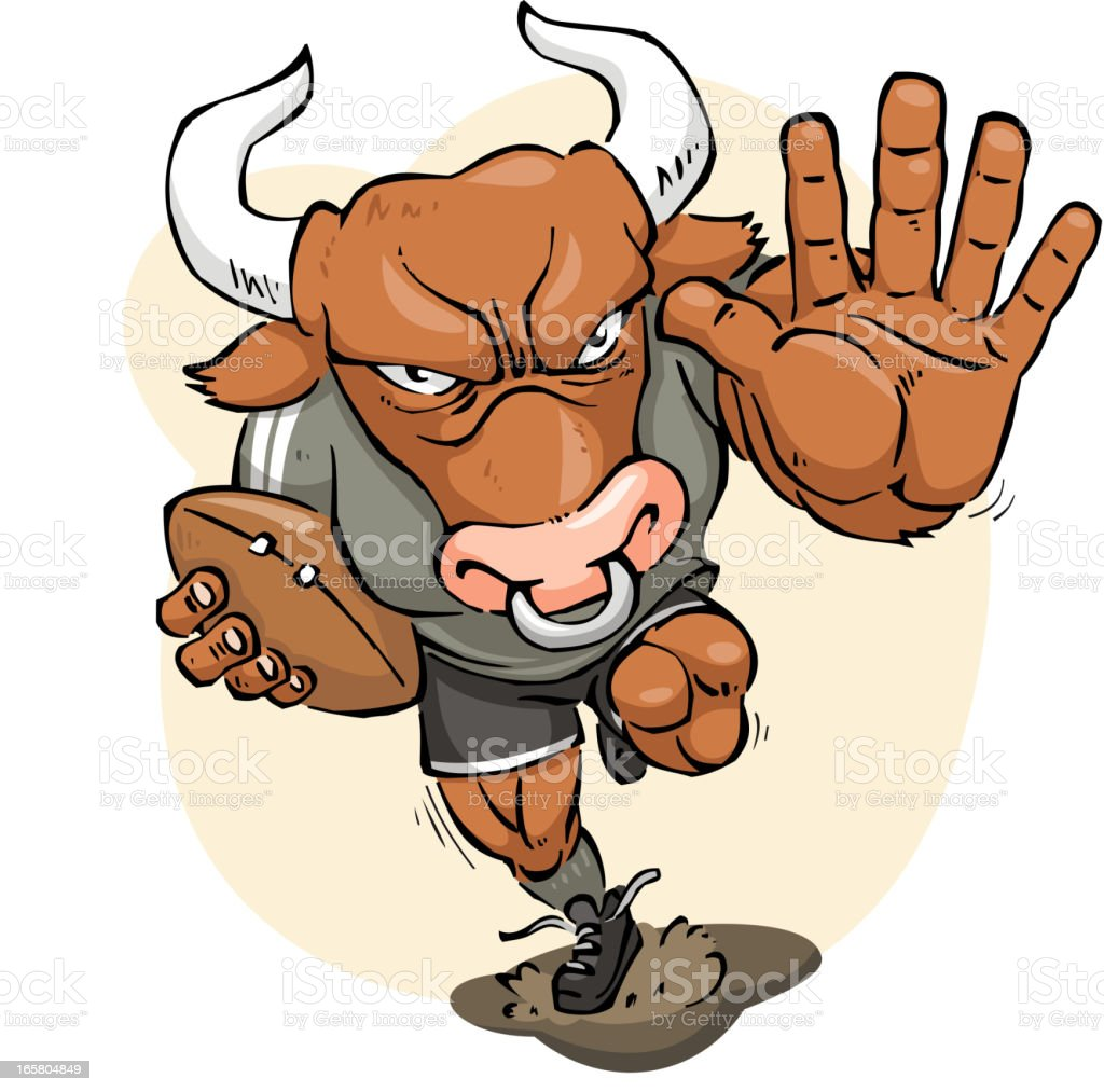 Furious strong Bull playing rugby up to score royalty-free stock vector art