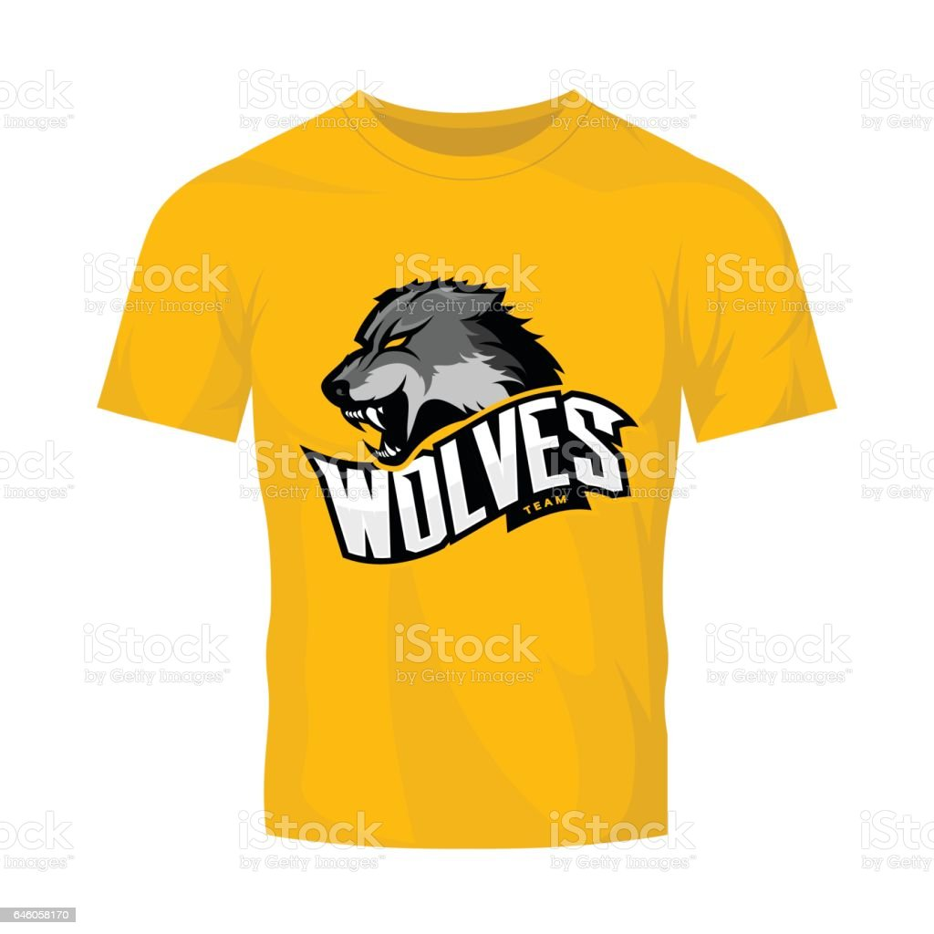 Scalable t shirt mockups more info - Furious Wolf Sport Vector Logo Concept Isolated On Yellow T Shirt Mockup Royalty Free
