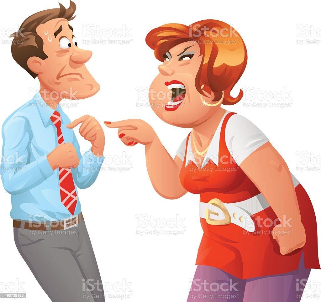 Furious Woman Shouting At Man vector art illustration