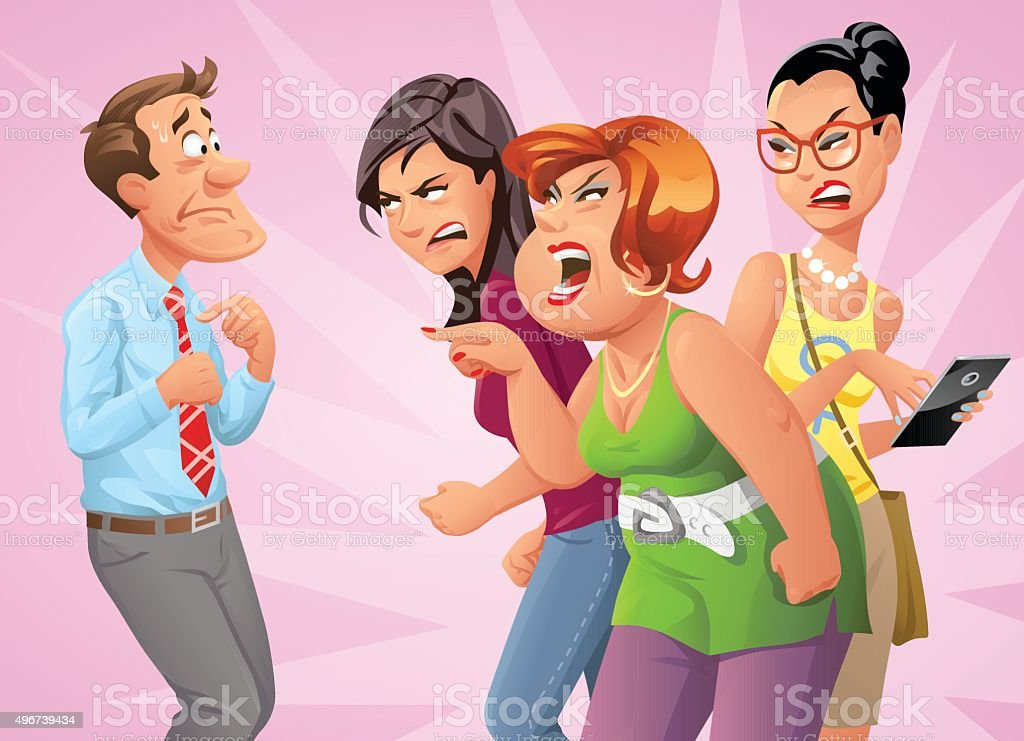 Furious Women Yelling At Man vector art illustration