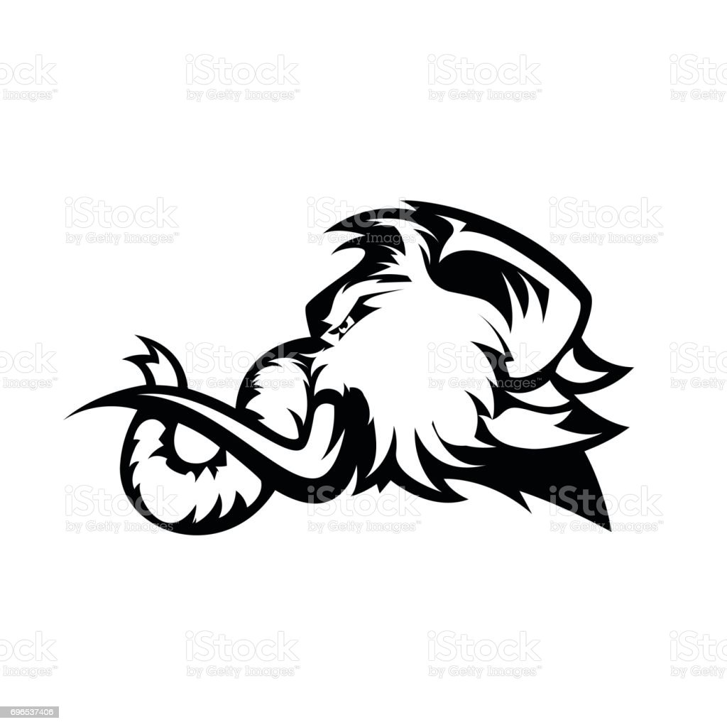 furious woolly mammoth head sport vector icon concept isolated on