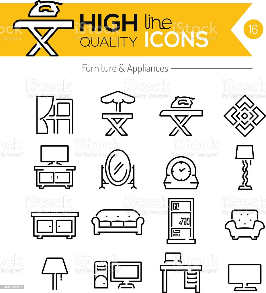 Furniture and Appliances line icons vector art illustration