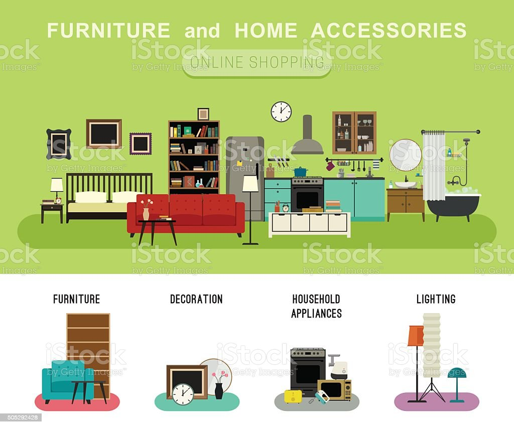 Furniture and home accessories banner. vector art illustration