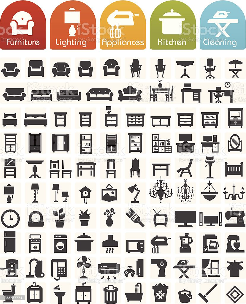 Furniture and home appliances Icons - Bulk series vector art illustration