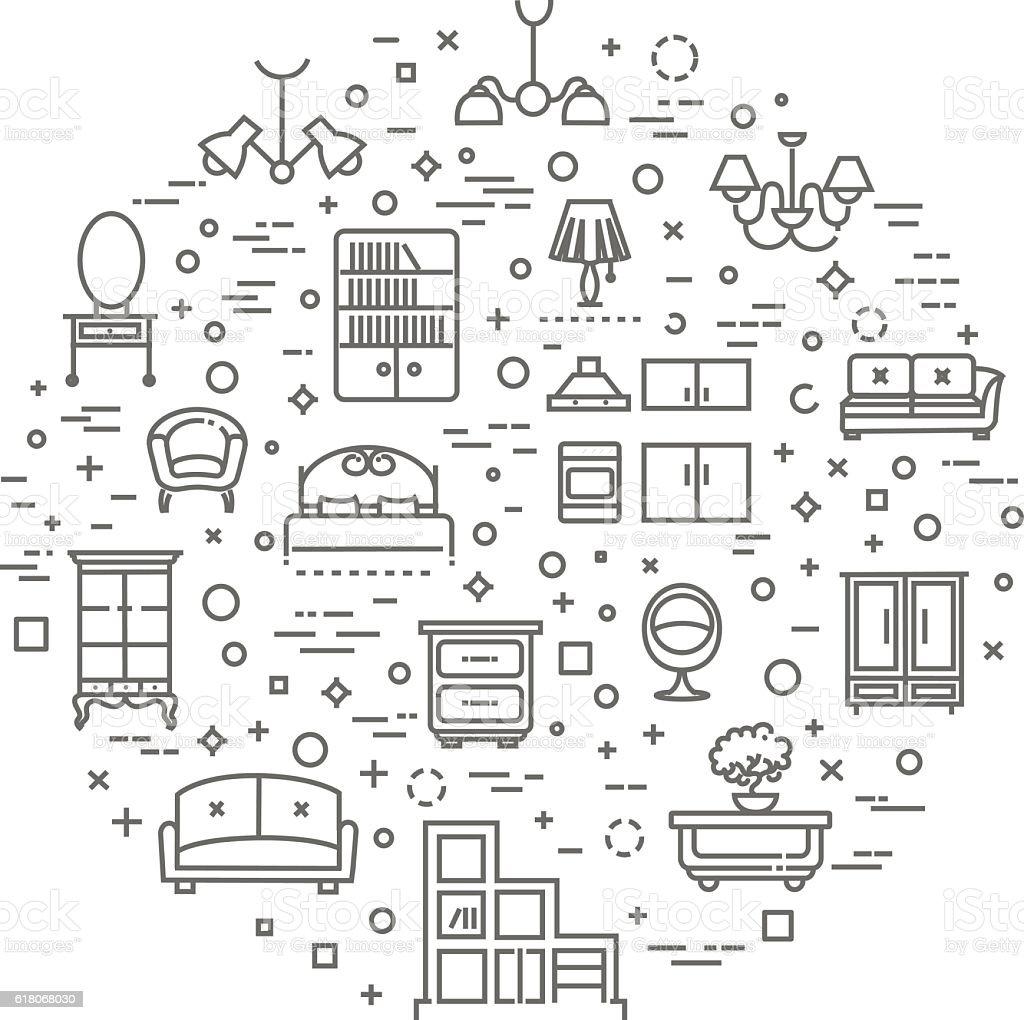 Furniture and home decor icon set vector art illustration