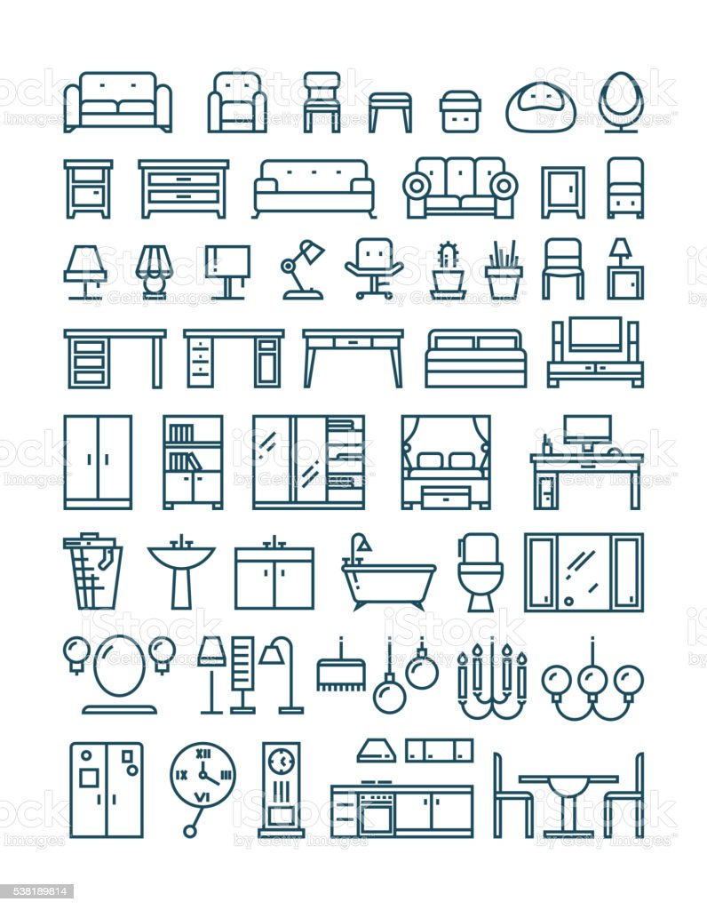 Furniture and sanitary line thin vector icons vector art illustration