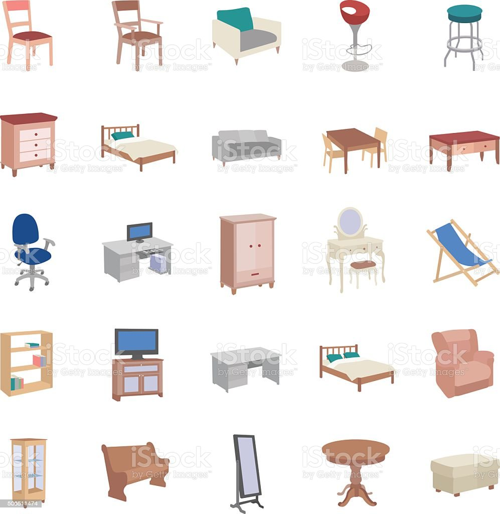 Furniture color vector icons vector art illustration