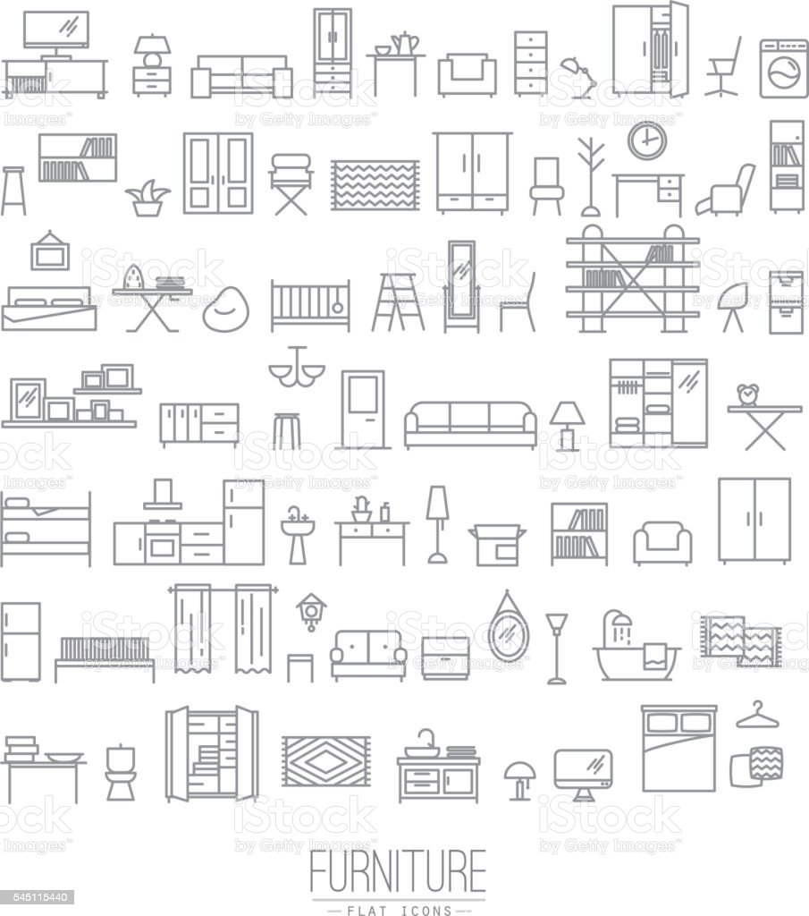 Furniture flat icons grey vector art illustration