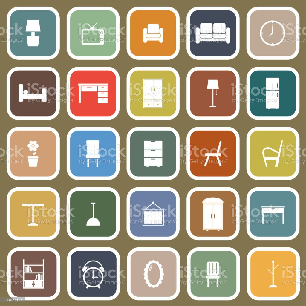 Furniture flat icons on brown background vector art illustration