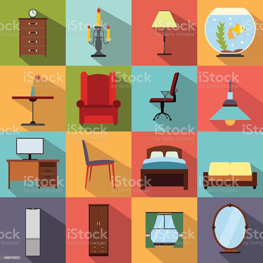 Furniture flat icons set vector art illustration