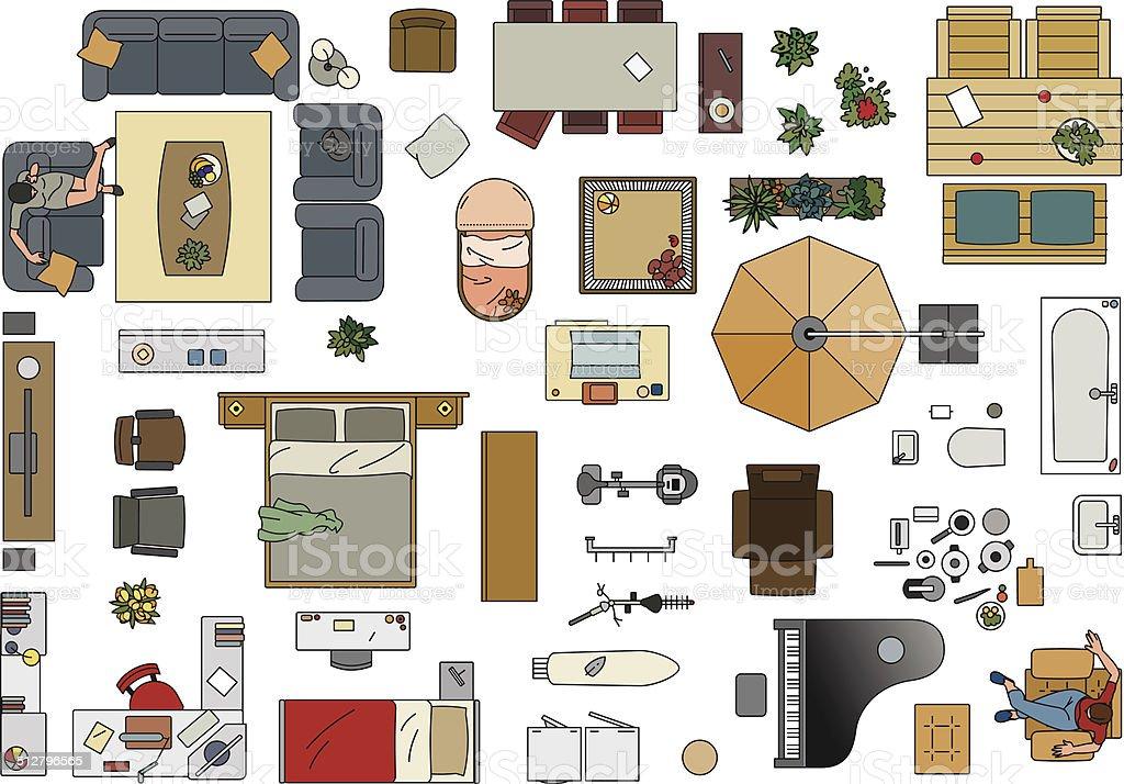 Furniture, Floor Plan in color vector art illustration