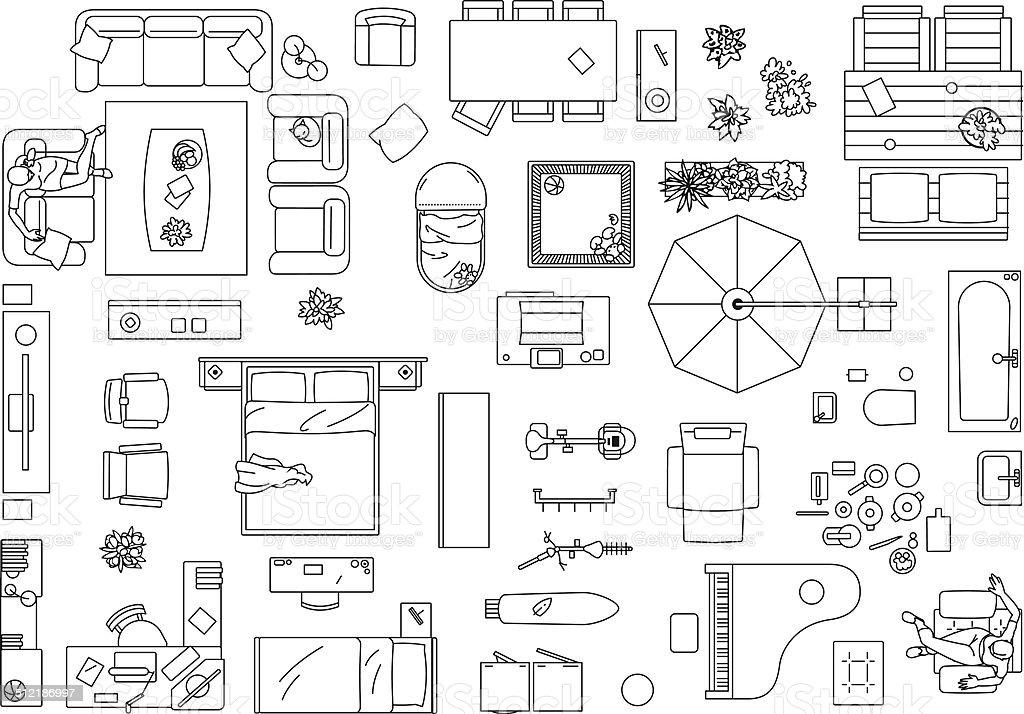 floor plan with furniture. illustration furniture floor plan vector art with c