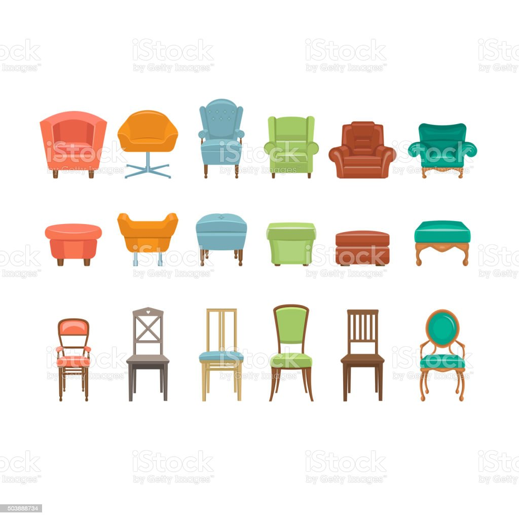 Furniture for Sitting. Chairs, Armchairs, Stools Icons. Vector Illustration vector art illustration