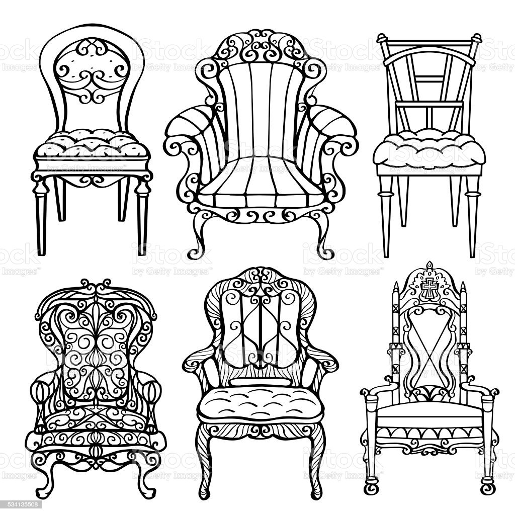 Furniture hand drawn set vector art illustration