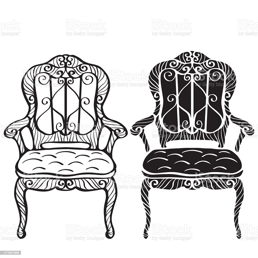 Black and white chair drawing - Furniture Hand Drawn Set Vintage Chair Armchair Royalty Free Stock Vector Art