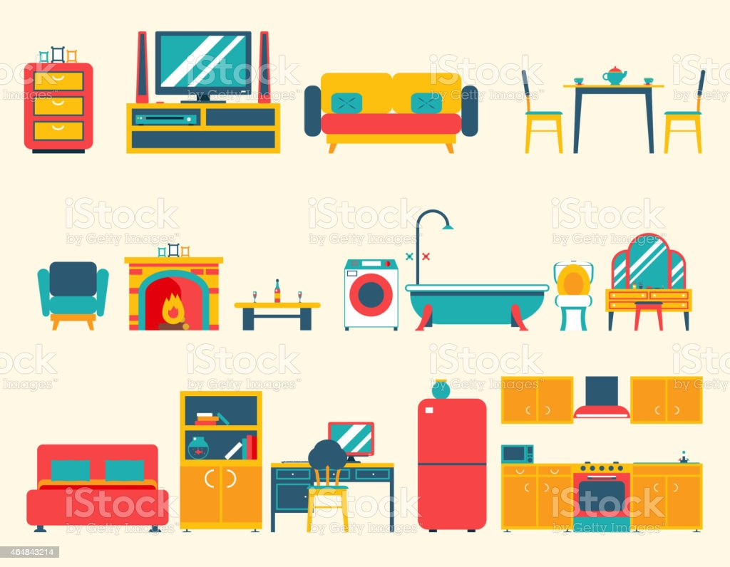 Furniture House Interior Icons and Symbols Set Living Room Kitchen vector art illustration