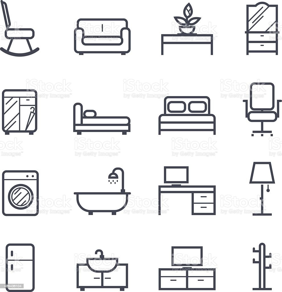 Furniture Icon Bold Stroke vector art illustration