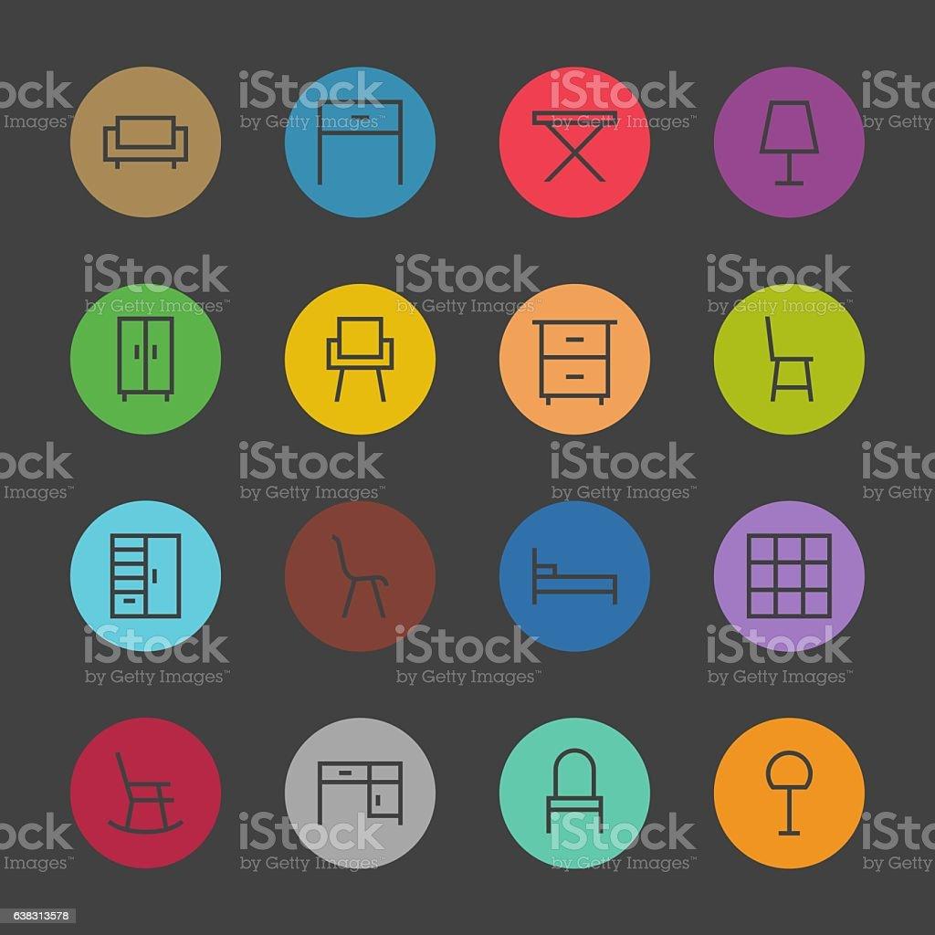 Furniture Icon - Color Circle Series vector art illustration