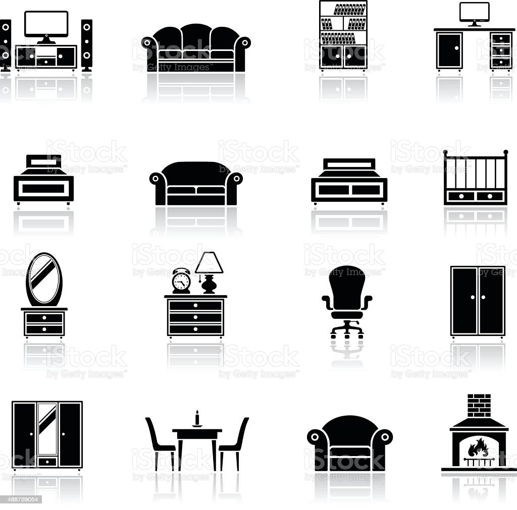 Furniture Icon Set vector art illustration