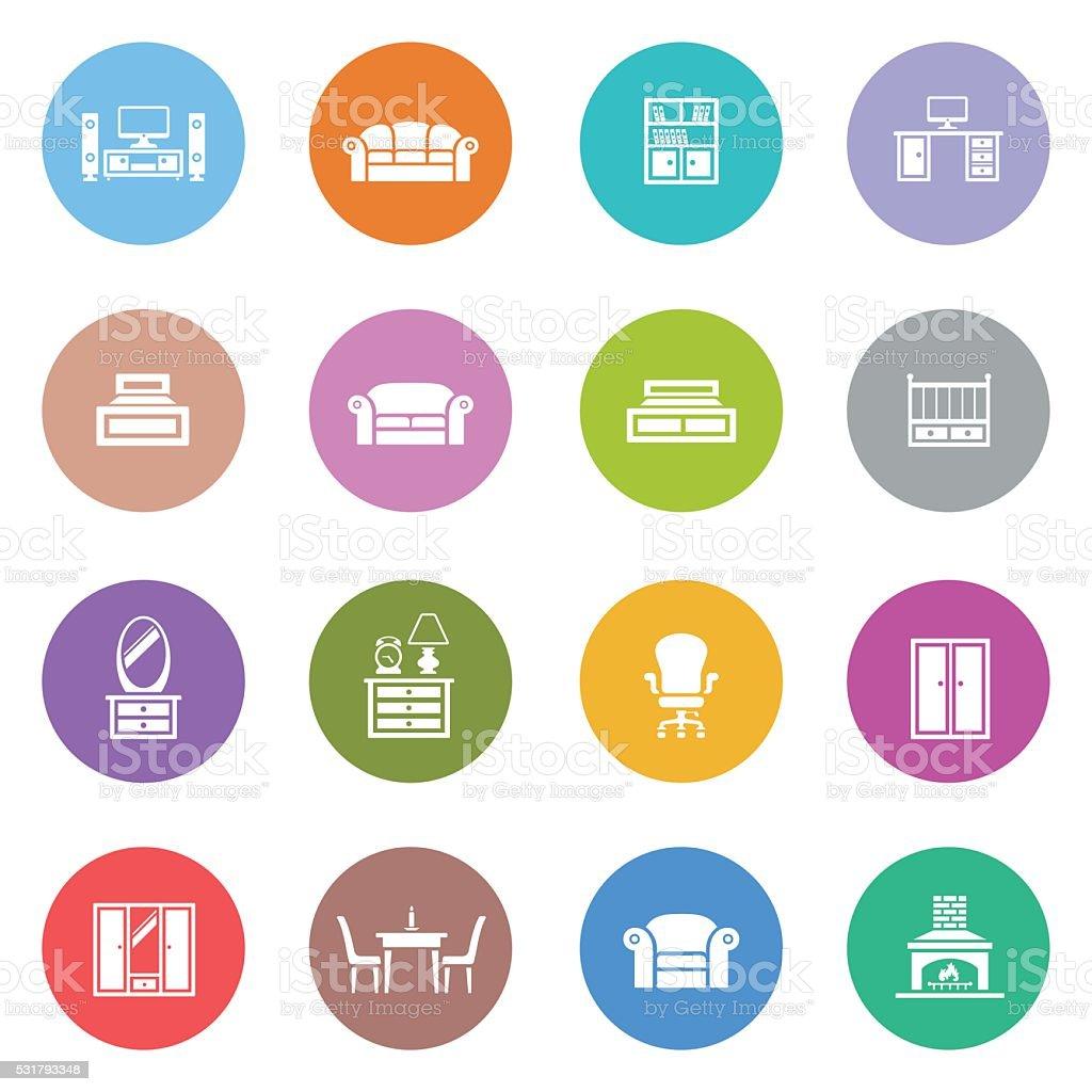 Furniture Icon Set vector art illustration