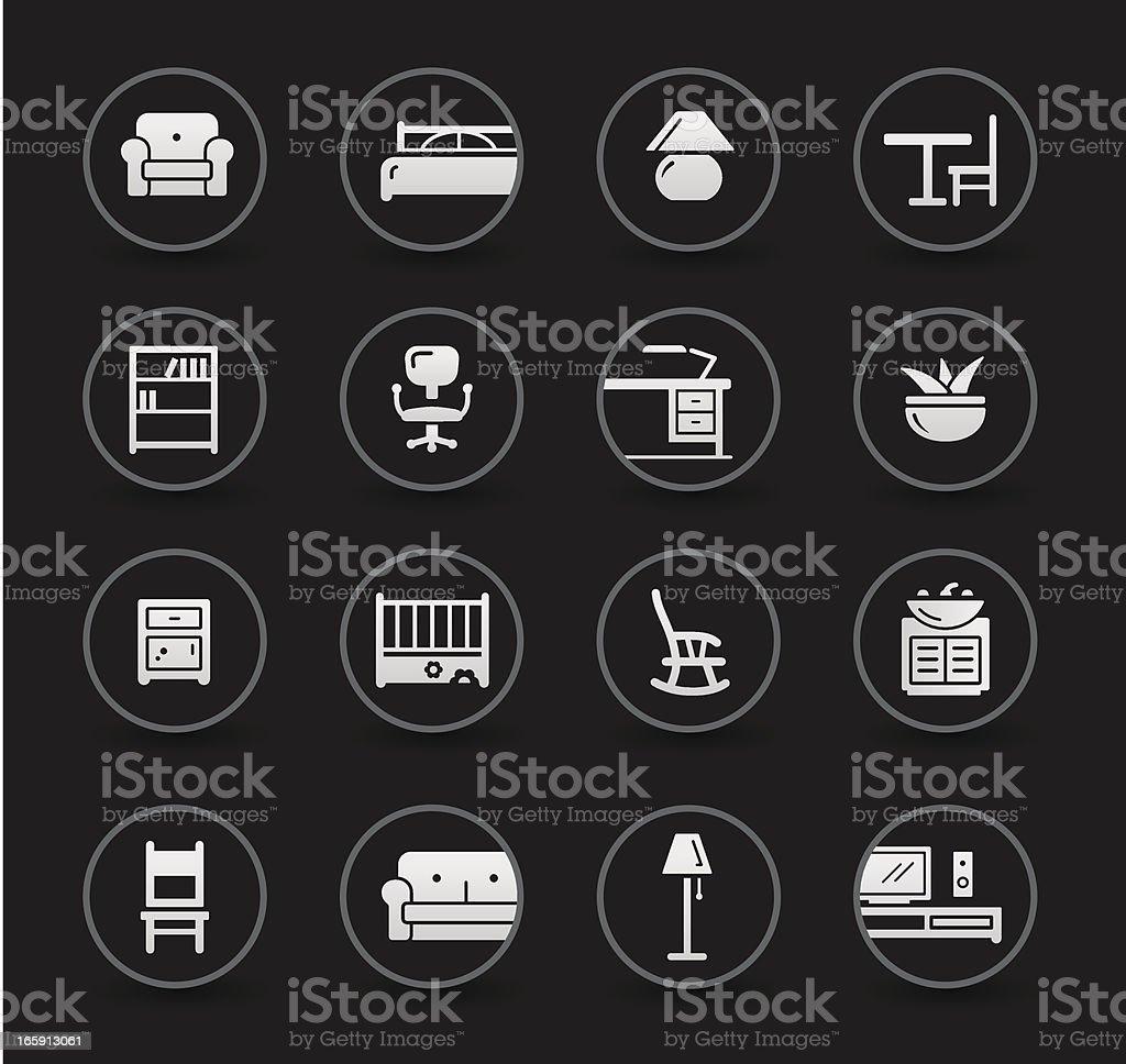 Furniture Icons   Black vector art illustration