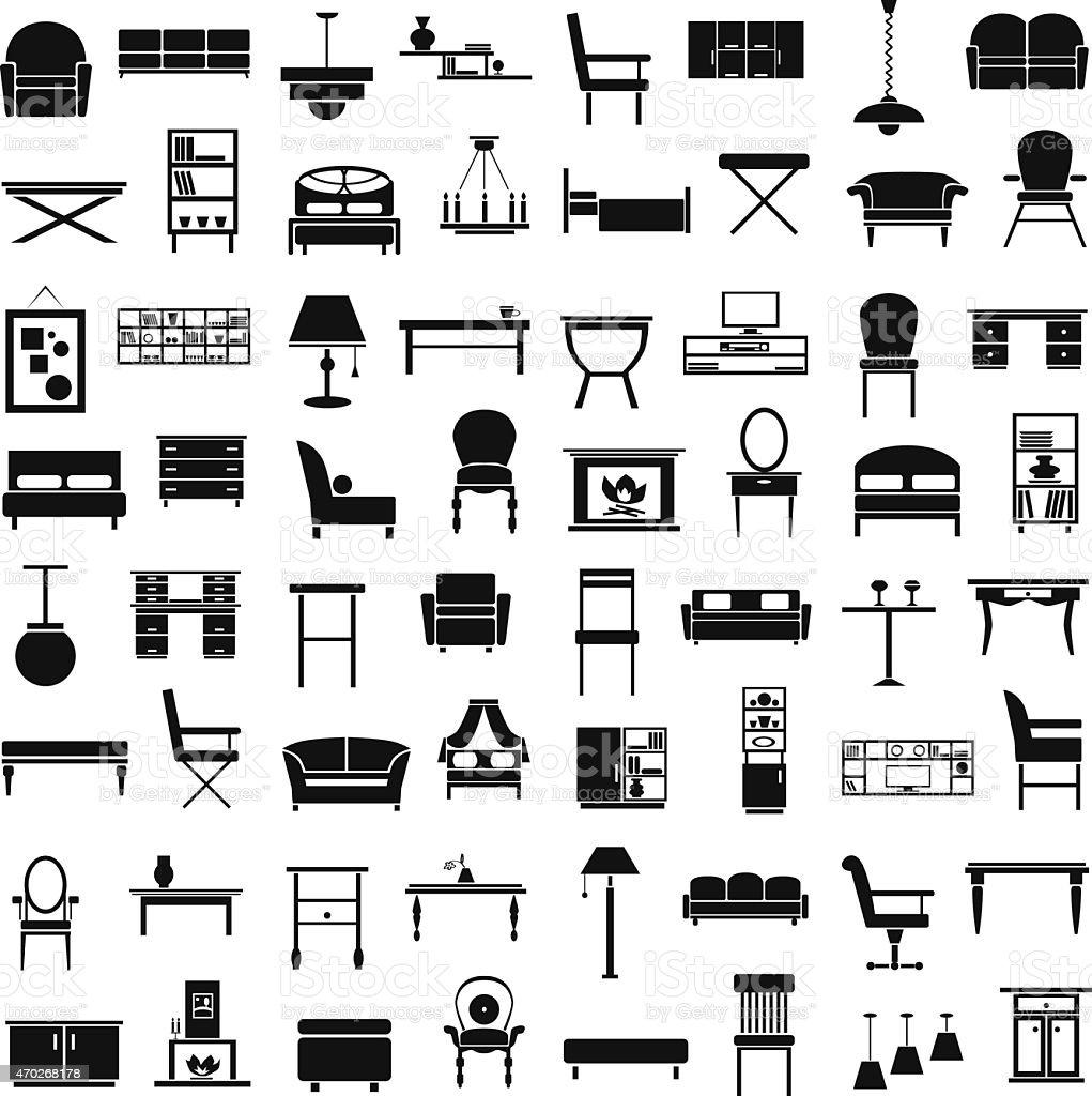 furniture icons on white vector art illustration