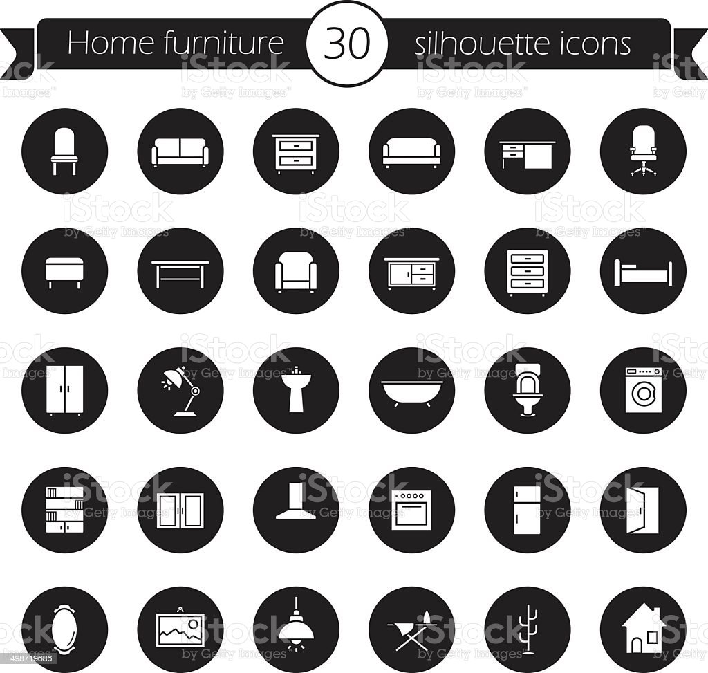 Furniture icons set. Black vector art illustration