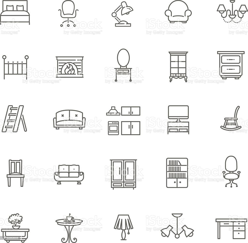Furniture Icons Set vector art illustration