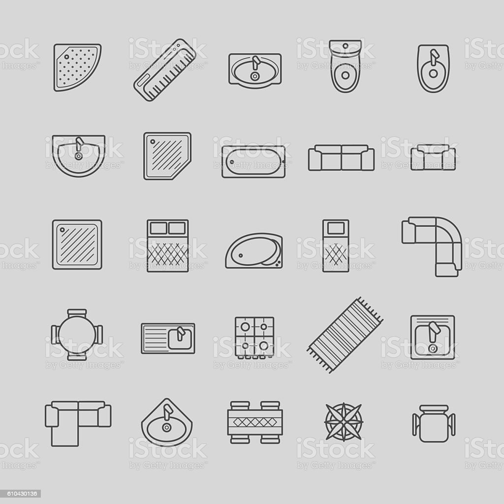 furniture icons, top view vector art illustration