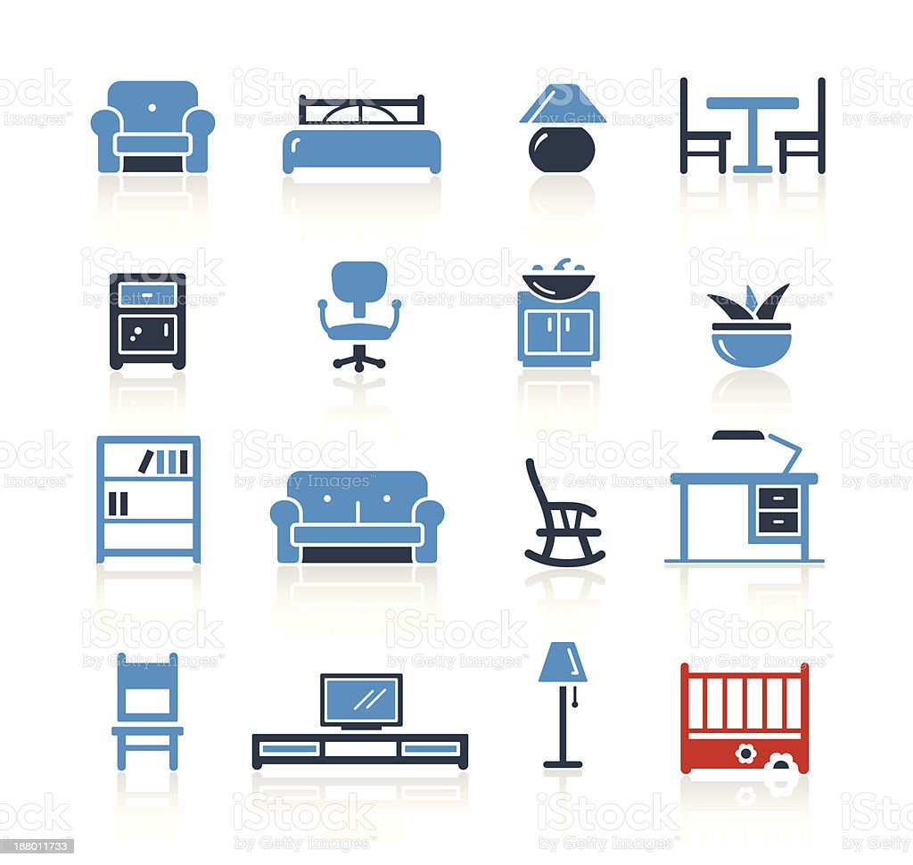 Furniture Icons Two Color | Pro Series vector art illustration