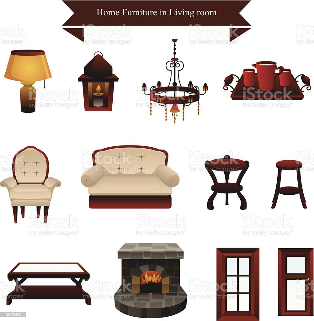 Furniture icons royalty-free stock vector art
