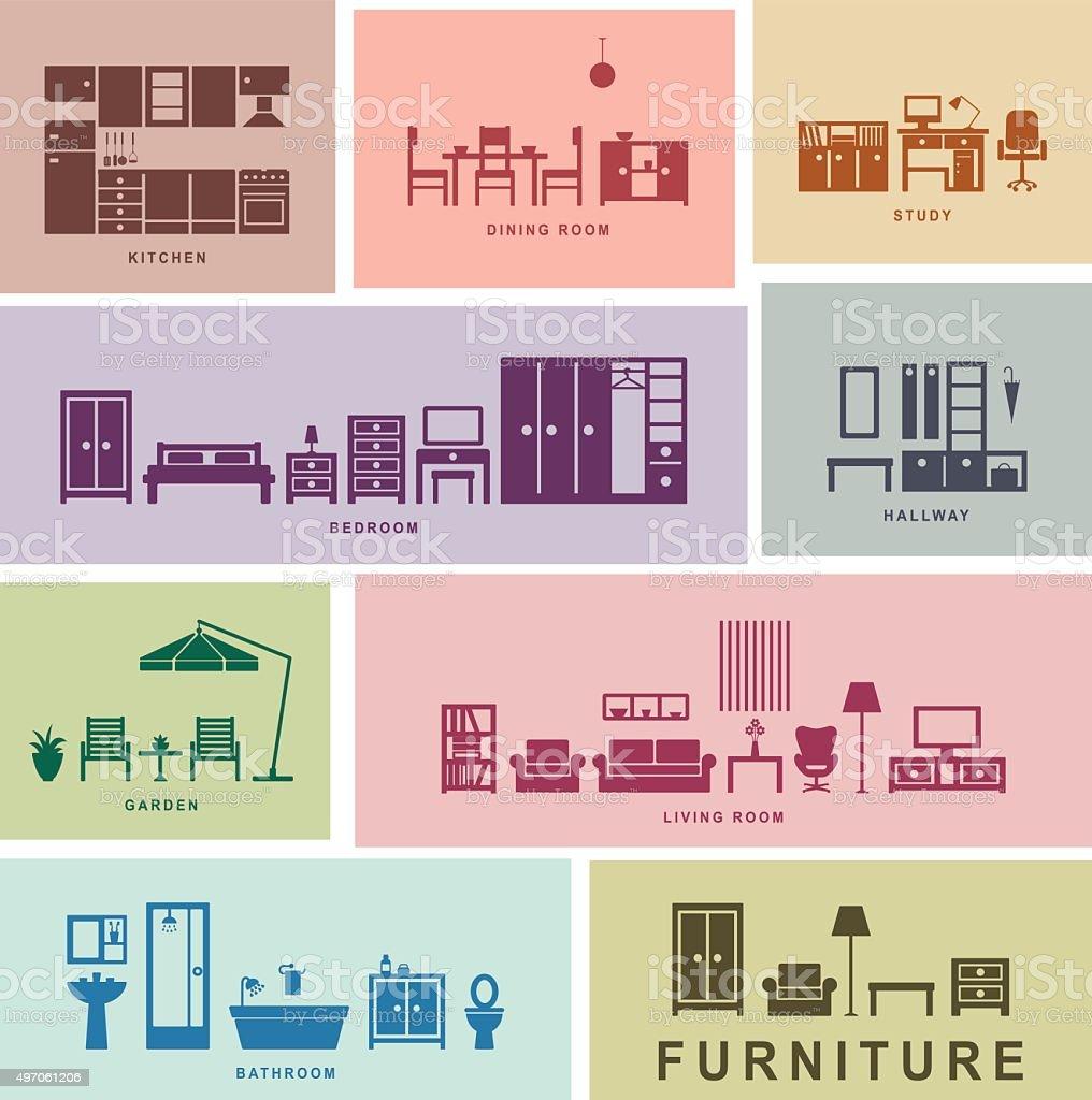 Furniture icons vector art illustration