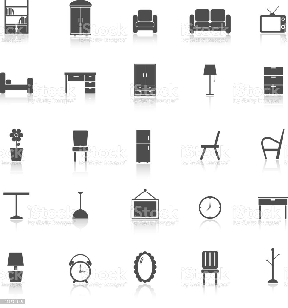 Furniture icons with reflect on white background vector art illustration