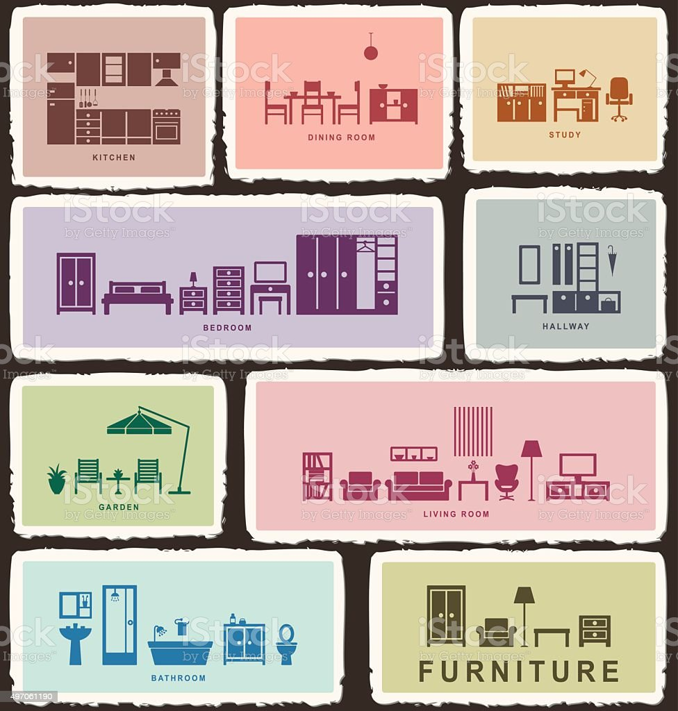Furniture icons with tattered edge 2 vector art illustration