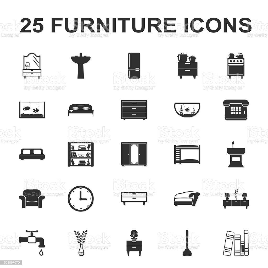furniture, interior 25 black simple icons set for web vector art illustration