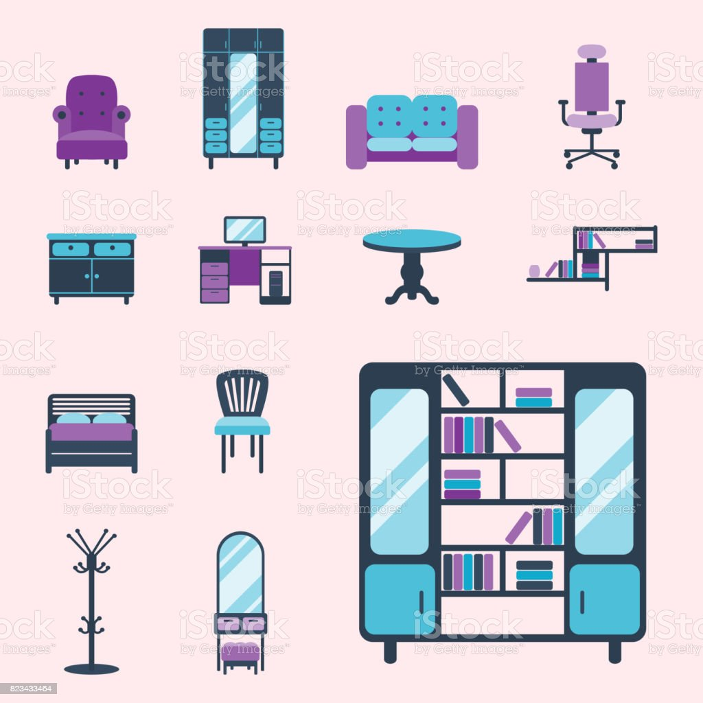 All rooms in the house rooms of homes vector art image illustration - Furniture Interior Icons Home Design Modern Living Room House Comfortable Apartment Vector Illustration Royalty Free