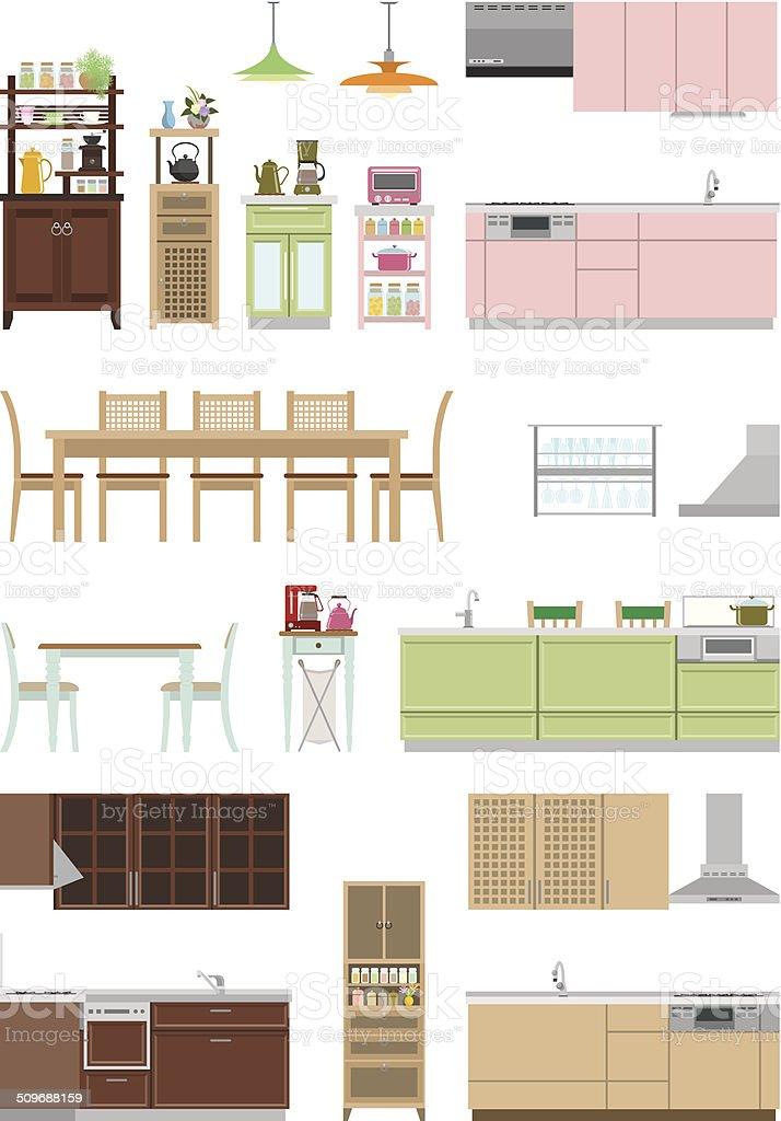Furniture / Kitchen vector art illustration