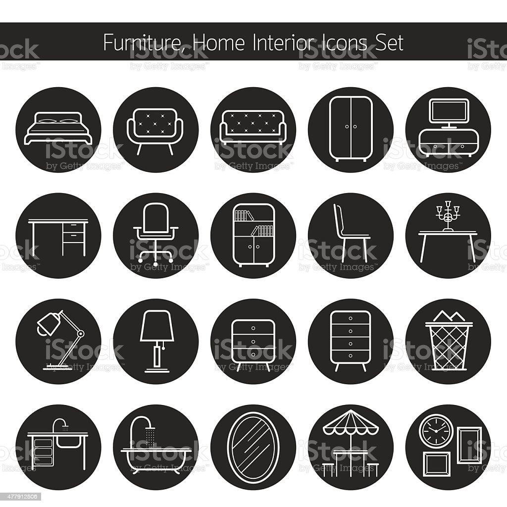 Furniture Line Icons Set vector art illustration