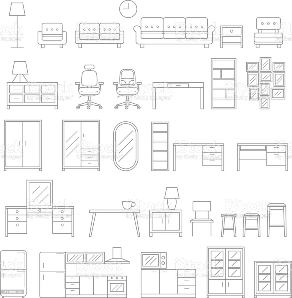 Furniture line icons style. vector art illustration
