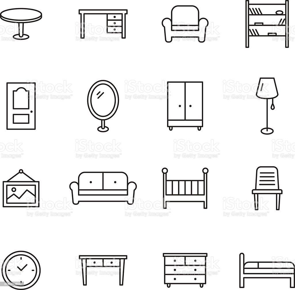 Furniture Line Icons vector art illustration