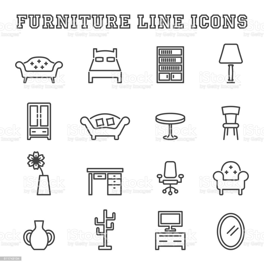 furniture line icons vector art illustration