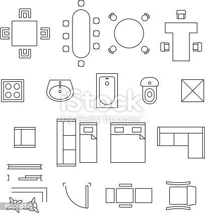 Furniture Linear Vector Symbols Floor Plan Icons Set Stock