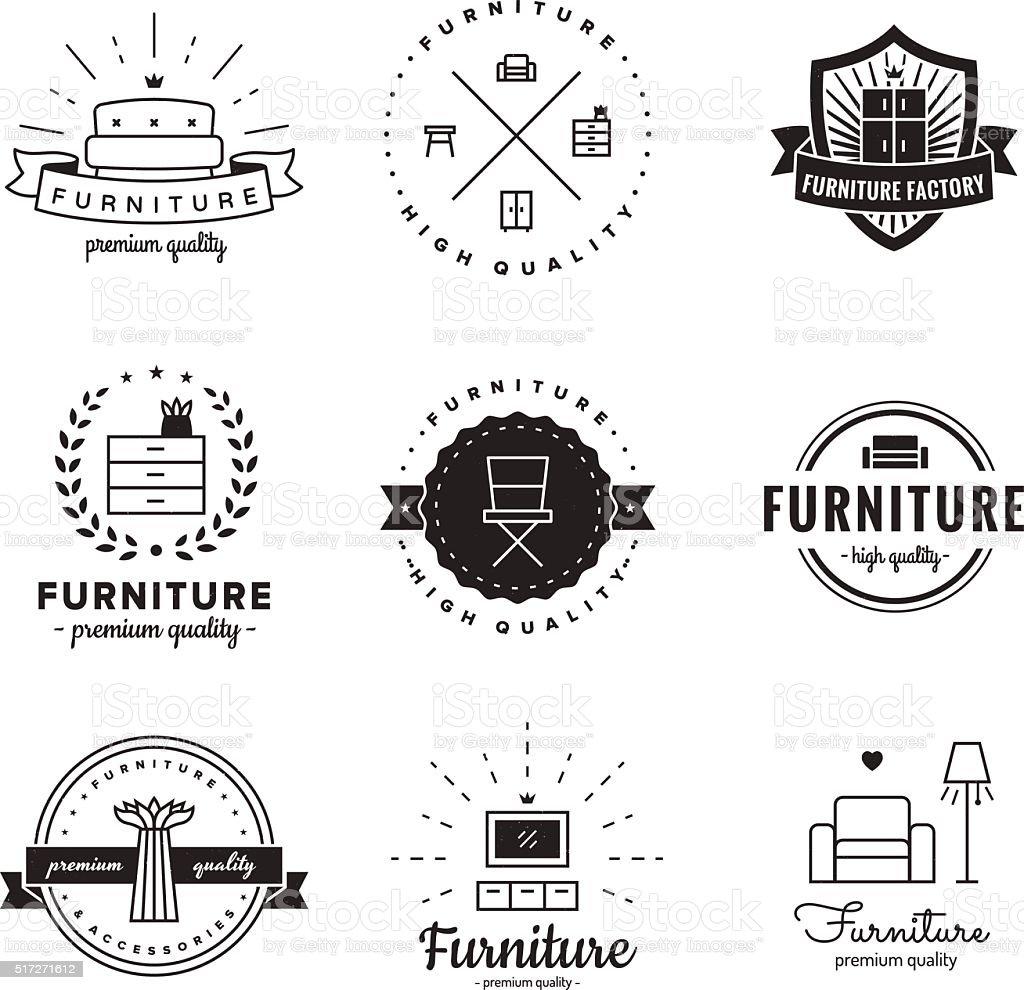 Furniture logo vintage vector set. Hipster and retro style. vector art illustration