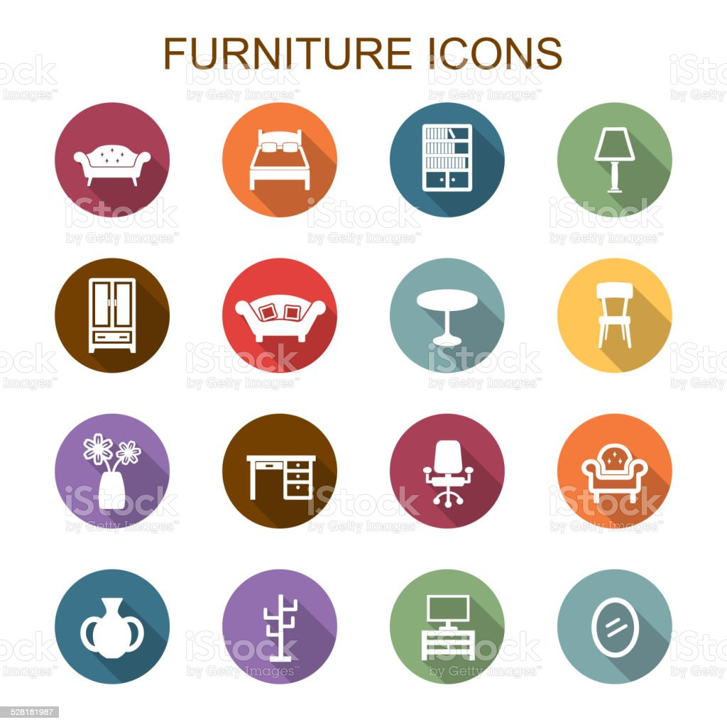 furniture long shadow icons vector art illustration