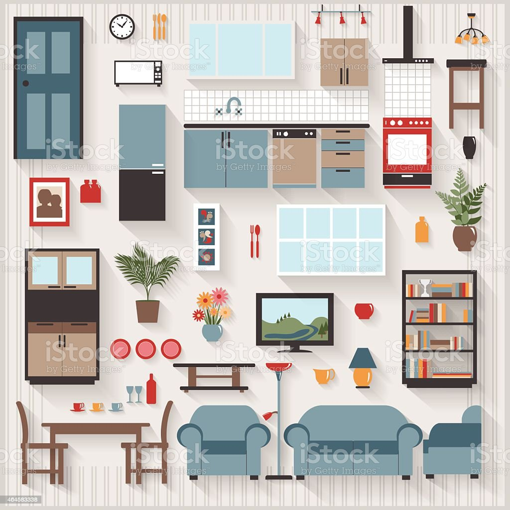 Furniture Long Shadows icons with Lounge Dining also Kitchen Appliances vector art illustration